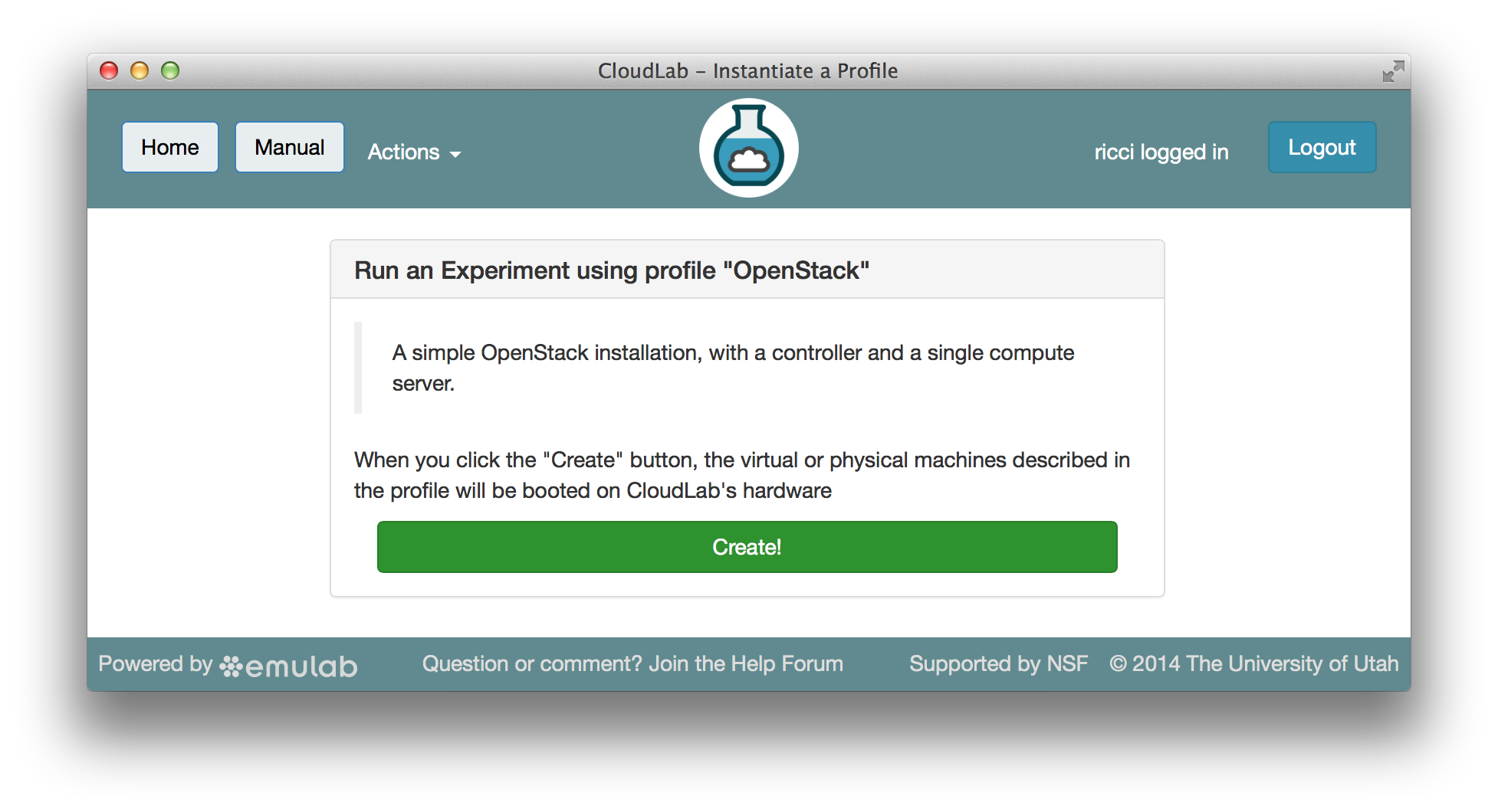 CloudLab Profile for OpenStack